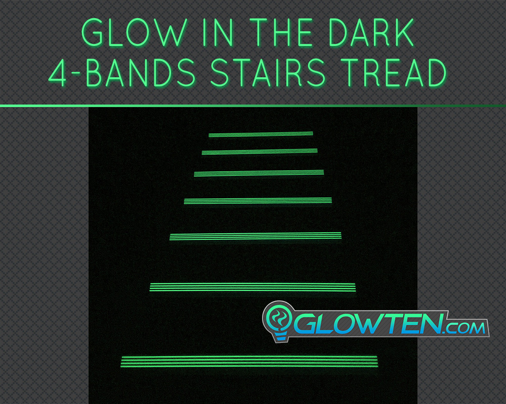 GLOWTEN.com - ANTI-SLIP STAIRS Traction TREAD AND NOSING 4-BANDS FOURBANDS GLOW IN THE DARK Out Door All Weather All Purpose LUMINOUS SAFETY STRIP SEE BETTER AT NIGHT PREVENT FALLING FOR MINIMUM 31.5