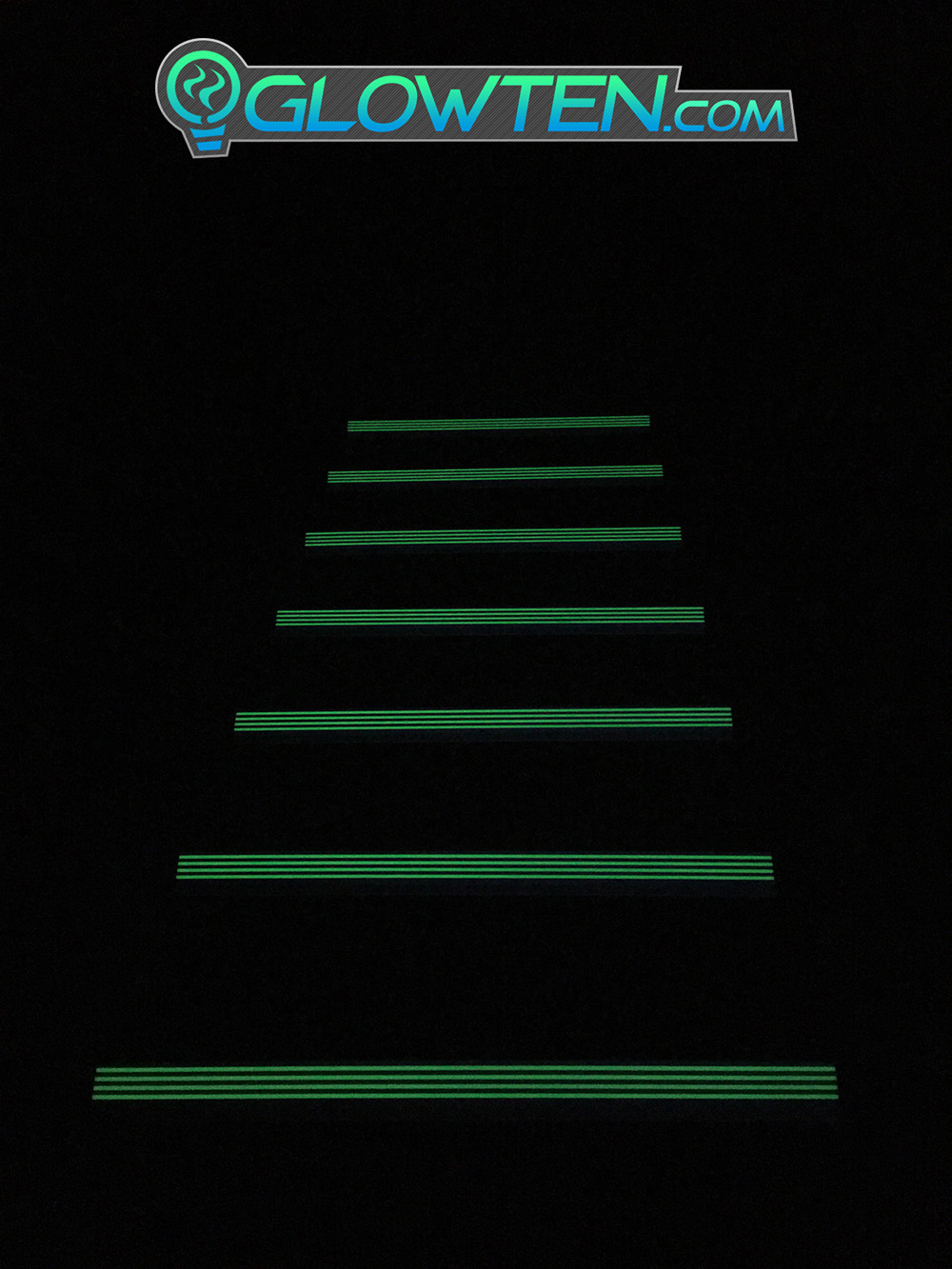 GLOWTEN.com - ANTI-SLIP STAIRS NOSING TREAD Traction Out Door All Weather GRIP STRENGTH 4-BANDS FOURBANDS GLOW IN THE DARK LUMINOUS SAFETY STRIP NON-SKID SEE BETTER AT NIGHT PREVENT FALLING FOR MINIMUM 31.5