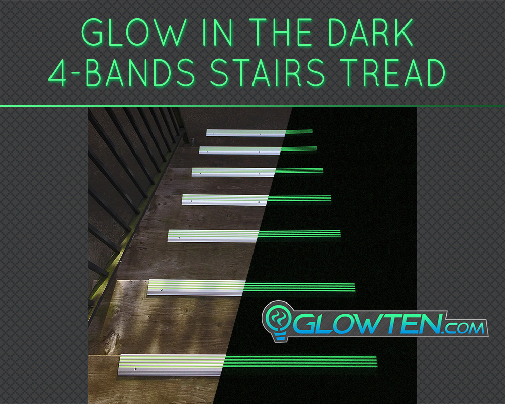 GLOWTEN.com - ANTI-SLIP STAIRS TREAD 4-BANDS FOURBANDS GLOW IN THE DARK Out Door All Weather All Purpose LUMINOUS SAFETY STRIP GRIP STRENGTH NOSING SEE BETTER AT NIGHT PREVENT FALLING FOR MINIMUM 31.5