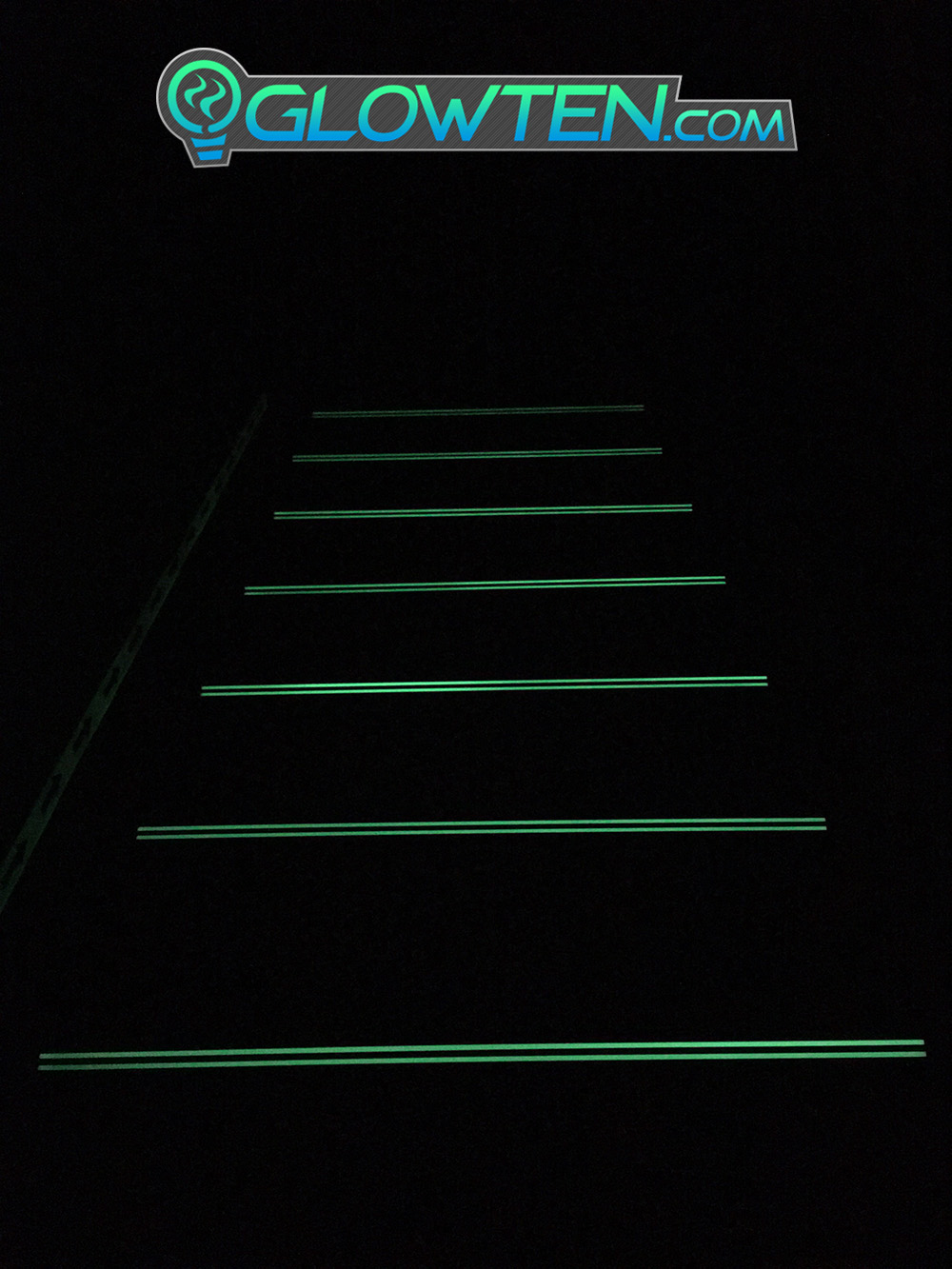 GLOWTEN.com - BLACK METAL ANTI-SLIP STAIRS TREAD 2-BANDS NOSING GLOW IN THE DARK LUMINOUS SAFETY STRIP NON-SKID SEE BETTER AT NIGHT PREVENT FALLING GRIP STRENGTH FOR MINIMUM 31.5