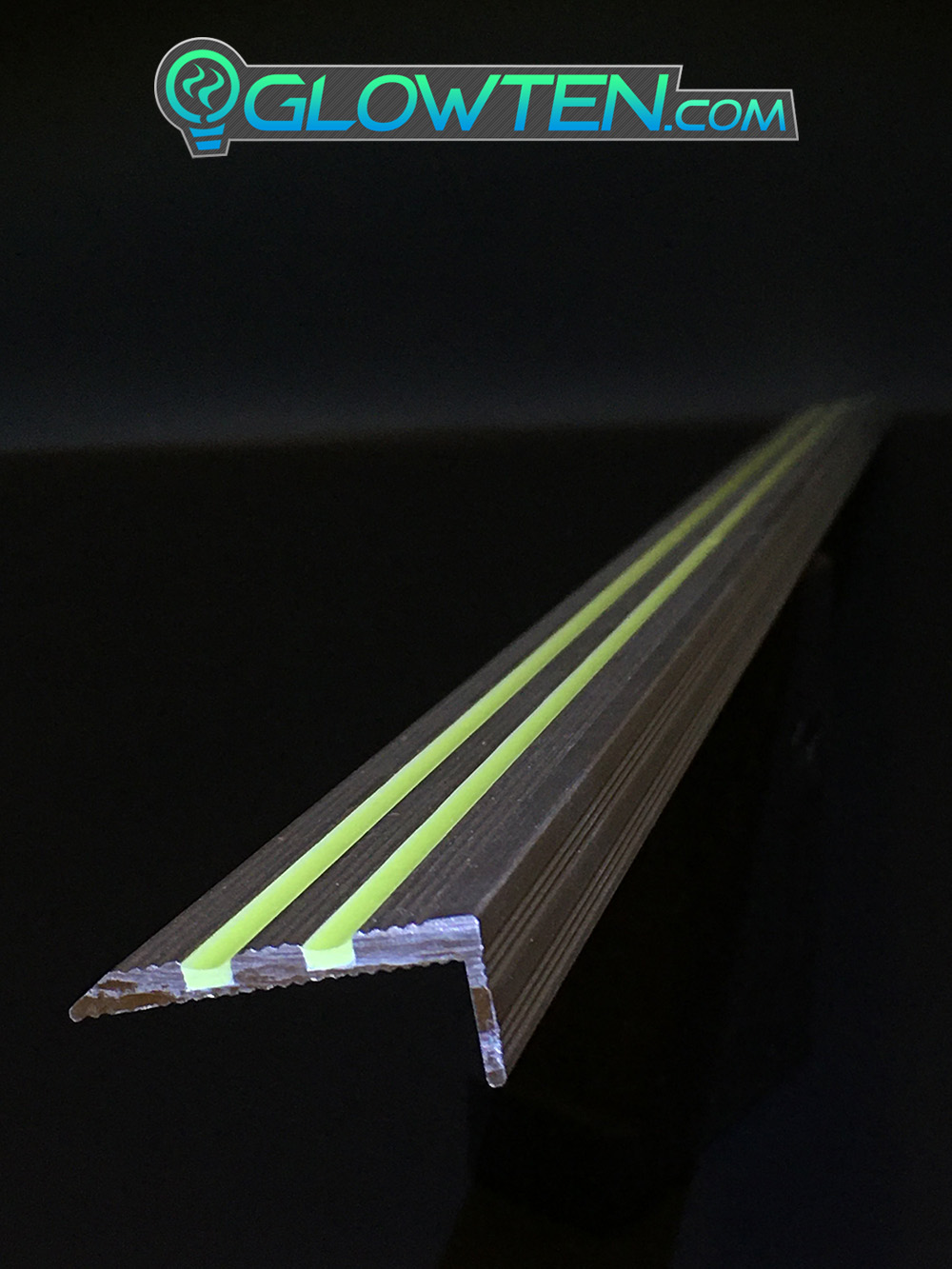 GLOWTEN.com - ANTI-SLIP STAIRS Traction TREAD 2-BANDS GLOW IN THE DARK LUMINOUS SAFETY STRIP NON-SKID SEE BETTER AT NIGHT PREVENT FALLING FOR MINIMUM 31.5