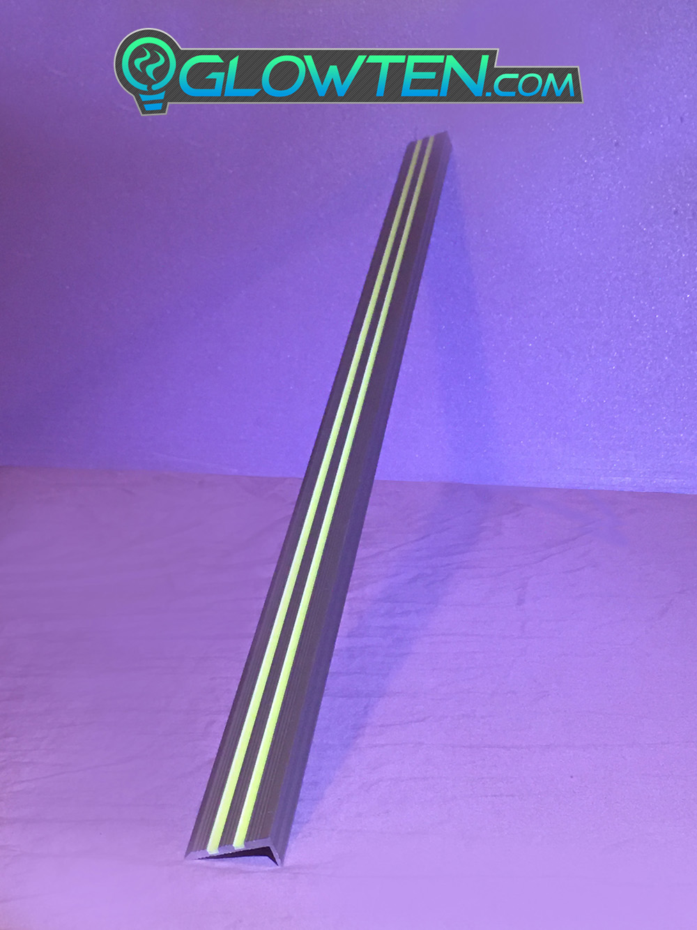 GLOWTEN.com - ANTI-SLIP STAIRS GRIP STRENGTH TREAD RISER 2-BANDS GLOW IN THE DARK LUMINOUS SAFETY STRIP NON-SKID SEE BETTER AT NIGHT PREVENT FALLING FOR MINIMUM 31.5