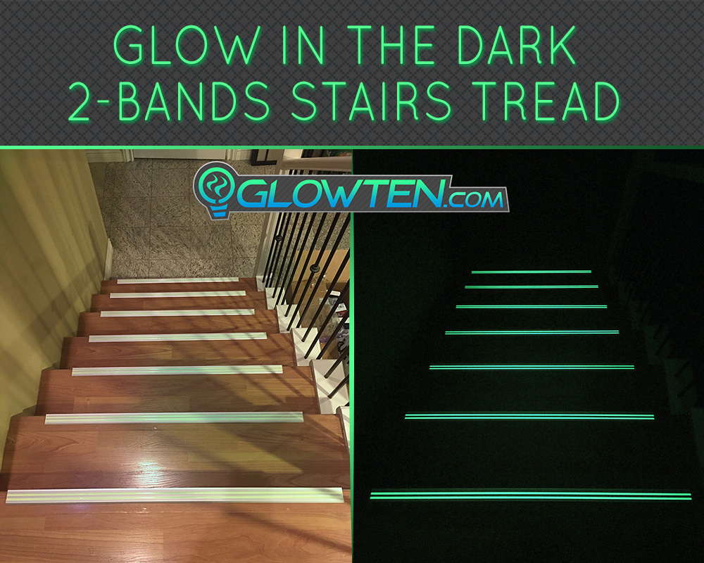 GLOWTEN.com - ANTI-SLIP STAIRS NOSING TREAD RISER Traction GRIP STRENGTH 2-BANDS GLOW IN THE DARK LUMINOUS SAFETY STRIP NON-SKID SEE BETTER AT NIGHT PREVENT FALLING FOR MINIMUM 31.5