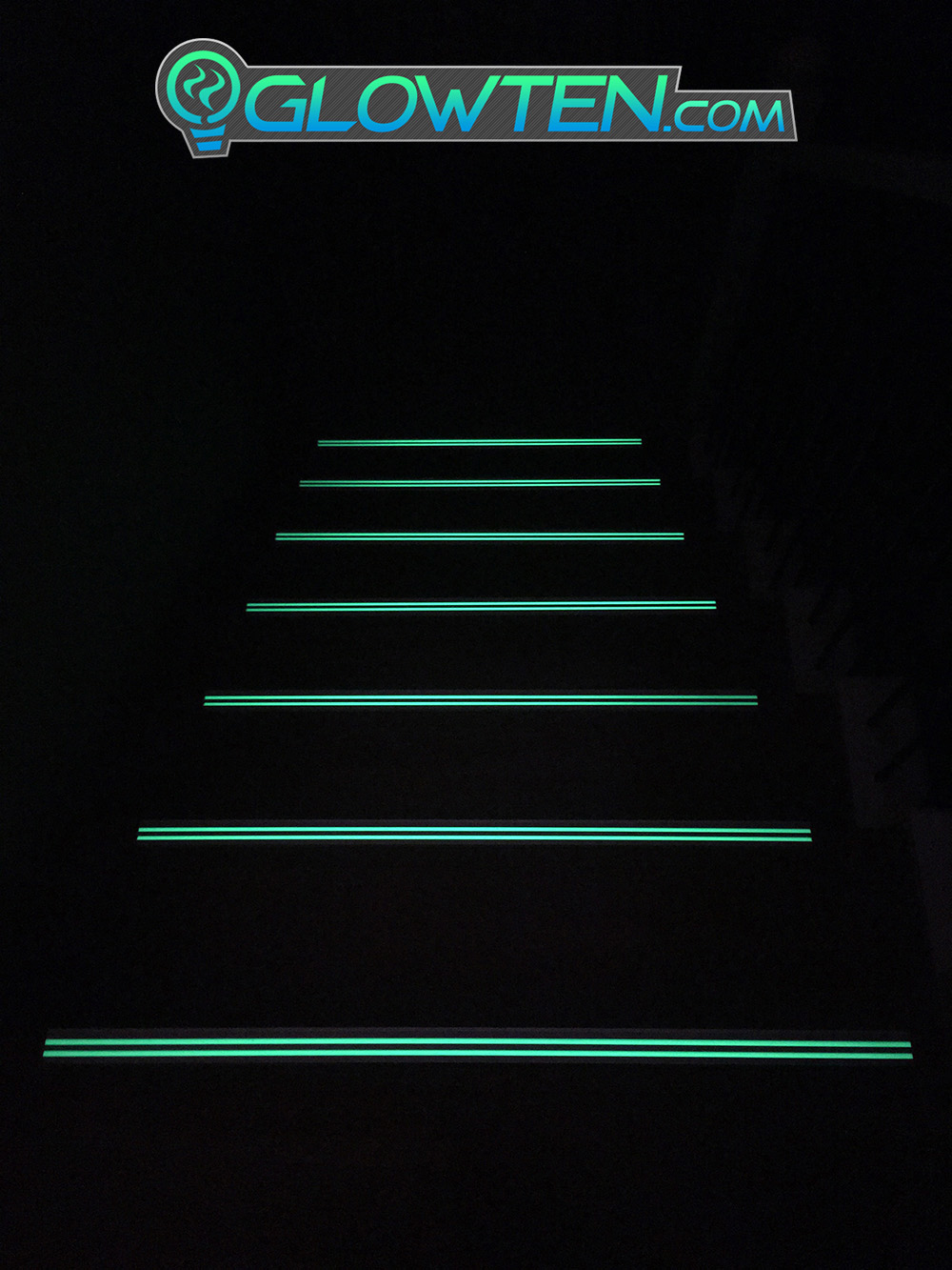 GLOWTEN.com - ANTI-SLIP STAIRS TREAD 2-BANDS GLOW IN THE DARK LUMINOUS SAFETY STRIP GRIP STRENGTH NOSING SEE BETTER AT NIGHT PREVENT FALLING  FOR MINIMUM 31.5