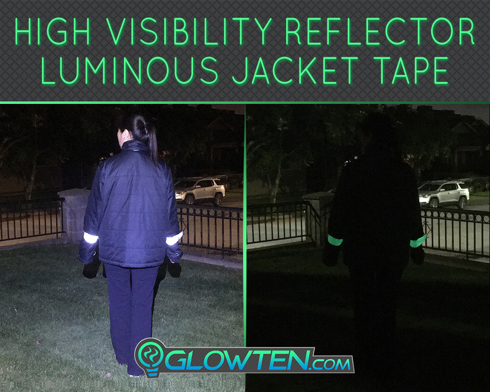 GLOWTEN.com - Flourescent Green Reflector Bike At Night Safety Tape Roll Luminous See Better At Night Glow In The Dark Safety Reflective High-visibility Band Tape Waistband Emitting Long Lasting Glow picture photo cap preview pic image search 3