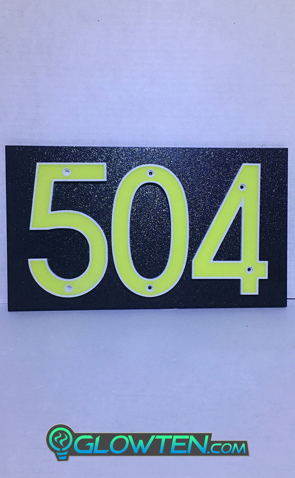 GLOWTEN.com - Applications In Front Or Back Yard Of Houses, Homes, Warehouses, Workshops, Addresses, Banners, Advertising Warning Caution Sign, Other Decor Decorations Etc, Abs Plastic Photoluminescent Pigment THREE 3 NUMBERS with BLACK PLAQUE BACKING Glow In Dark House Address Number Horizontal Eco Friendly Photoluminescent Sign ABS Material Price For Whole Set Phosphorescent Neon Color Flourescent Green Markings picture photo cap preview pic image search 1