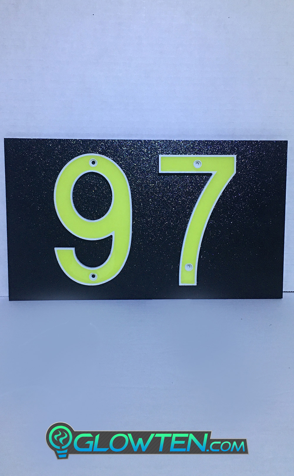 GLOWTEN.com - ABS Plastic Photoluminescent Pigment TWO 2 NUMBERS with BLACK PLAQUE BACKING Glow In Dark House Address Number Horizontal Eco Friendly Photoluminescent Sign ABS Material Price For Whole Set With Backing Fully customizable please pick and choose your Numbers picture photo cap preview pic image search 1