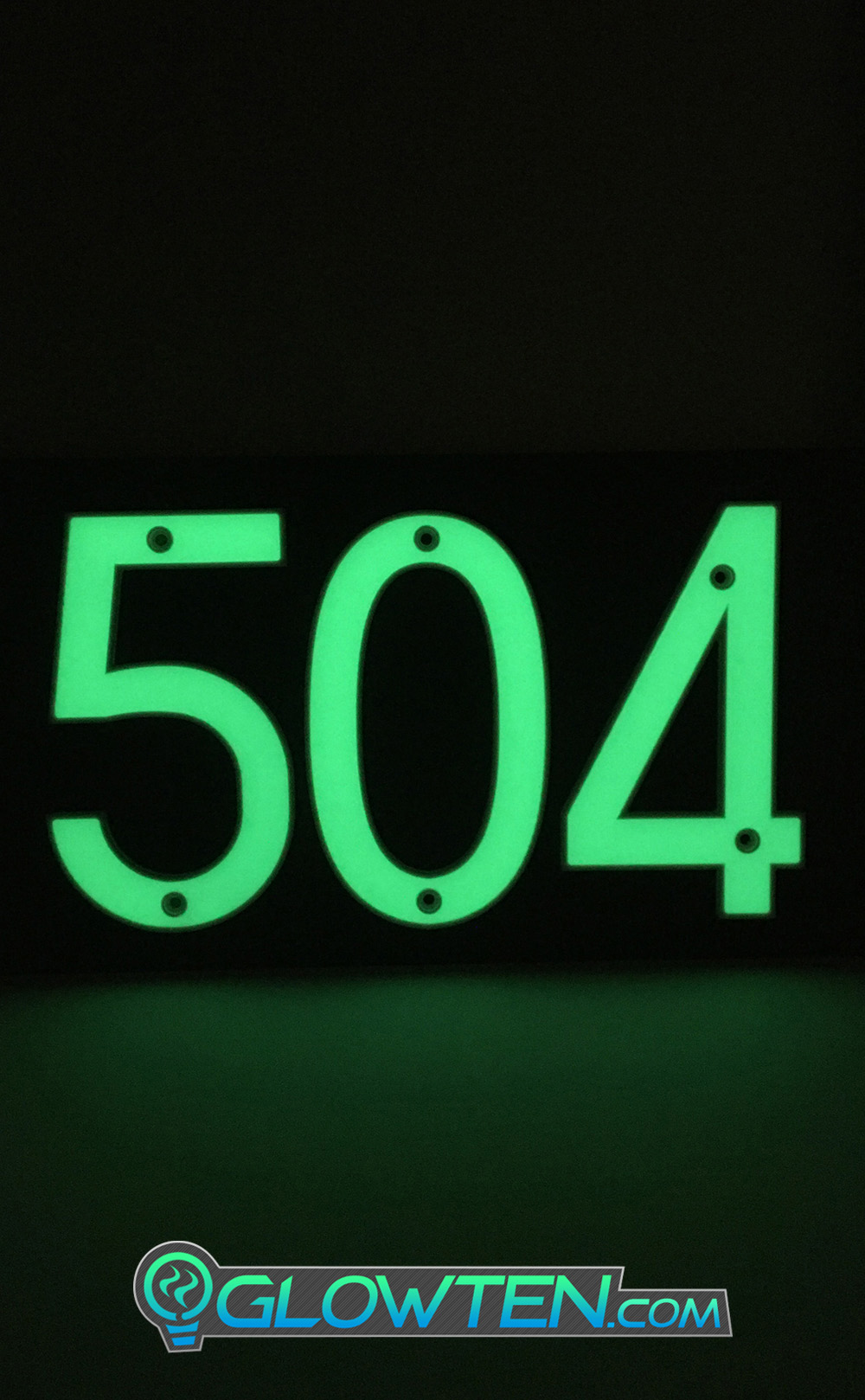 GLOWTEN.com - Fully Customizable Please Pick And Choose Your Numbers THREE 3 NUMBERS with BLACK PLAQUE BACKING Glow In Dark House Address Number Horizontal Eco Friendly Photoluminescent Sign ABS Material Price For Whole Set No Electricity Required Emitting Glow Light Indefinitely picture photo cap preview pic image search 2
