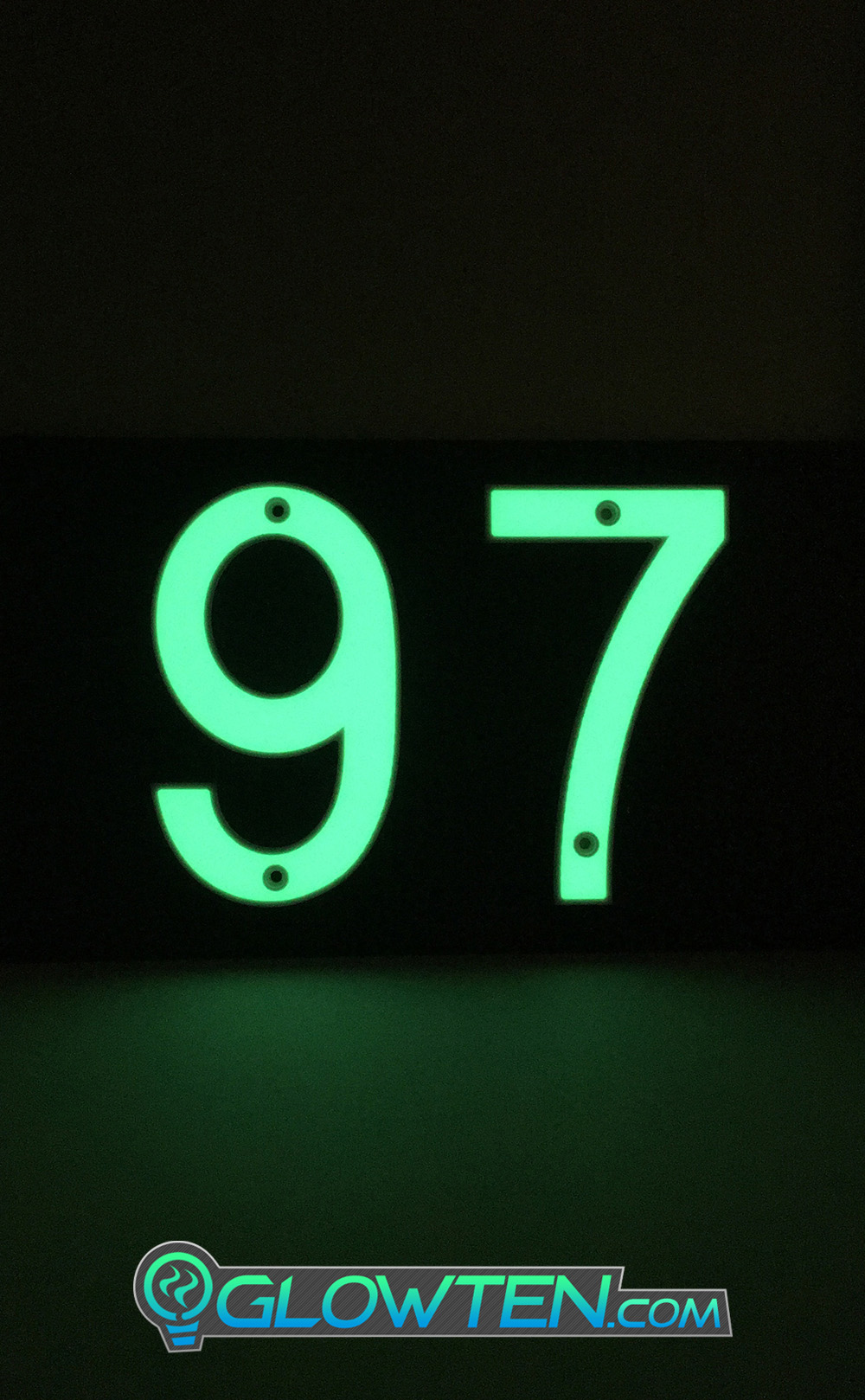 GLOWTEN.com - TWO 2 NUMBERS with BLACK PLAQUE BACKING Glow In Dark House Address Number Horizontal Eco Friendly Photoluminescent Sign ABS Material Price For Whole Set With Backing Fully customizable please pick and choose your Numbers Warning Sign picture photo cap preview pic image search 2
