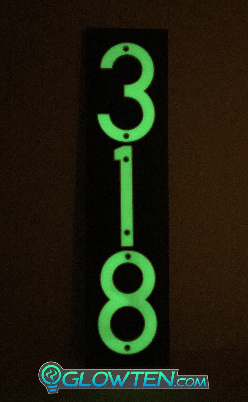 GLOWTEN.com - Fully Customizable Please Pick And Choose Your Numbers, Abs Plastic Body Photoluminescent Pigment, Ceiling Wall Decoration Kit THREE 3 NUMBERS with BLACK PLAQUE BACKING Glow In Dark House Address Number Horizontal Eco Friendly Photoluminescent Sign ABS Material Price For Whole Set picture photo cap preview pic image search 2