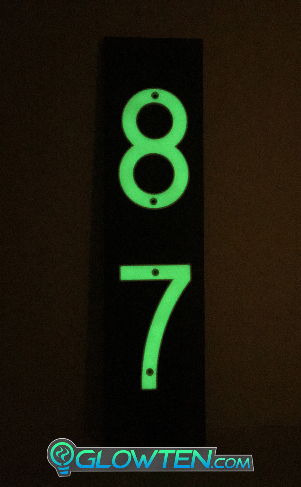 GLOWTEN.com - Resulting In The Glowing Effect, Applications In Front Or Back Yard Of Houses, Homes, Warehouses, Workshops, Addresses, Banners, Advertising, Decor, Decorations, Warning Sign, Sporting Events TWO 2 NUMBERS with BLACK PLAQUE BACKING Glow In Dark House Address Number Vertical Eco Friendly Photoluminescent Sign ABS Material Price For Whole Set ABS Plastic Photoluminescent Pigment picture photo cap preview pic image search 2