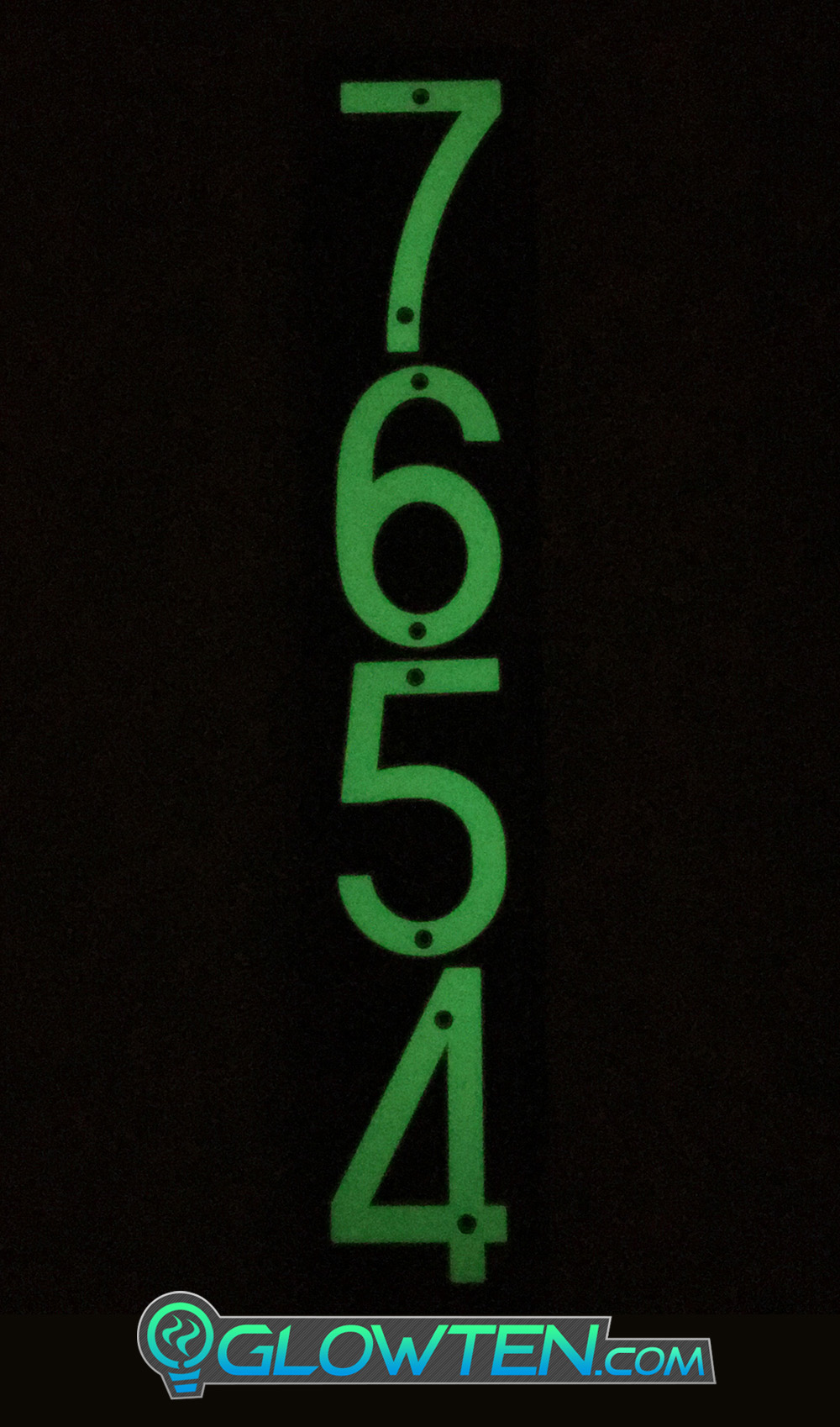 GLOWTEN.com - FOUR 4 NUMBERS with BLACK PLAQUE BACKING Glow In Dark House Address Number Vertical Eco Friendly Photoluminescent Sign ABS Material Price For Whole Set Backboard Included Fully Customizable Please Pick And Choose Your Numbers Emitting Green Glow Help Your Delivery Guy At Night Photo Luminescent Vinyl No Electricity Required Emitting Glow Light Naturally Night View picture photo cap preview pic image search 2