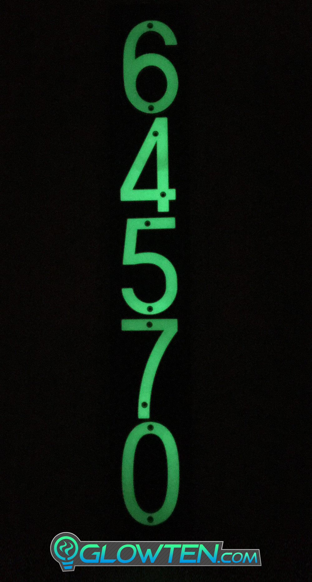GLOWTEN.com - Glow In The Dark House Address Numbers Customization Plaque Backboard Natural Glow Help Your Doordash Ubereats Delivery Guy See Your Place FIVE 5 NUMBERS with BLACK PLAQUE BACKING Glow In Dark House Address Number Vertical Eco Friendly Photoluminescent Sign ABS Material Price For Whole Set Decor Advertising picture photo cap preview pic image search 2