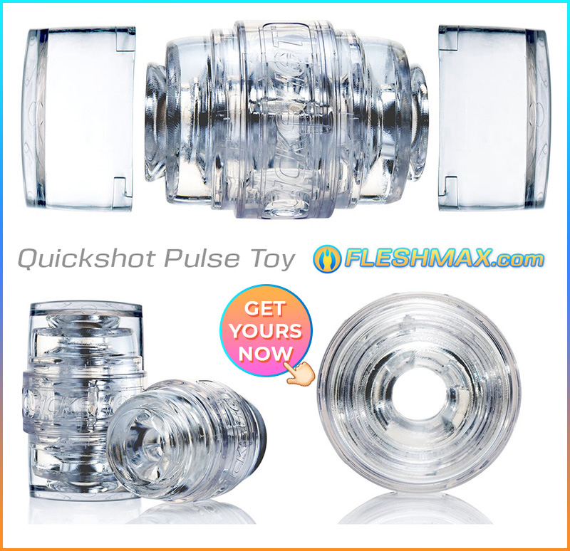 FLESHMAX.com - Quick Shot Pulse Fap Masturbator Seethrough Clear Stroker Dick Orgasm Toy shopping channel sextoys review store,best hands free male stroker,best hands free masterbator,hands free fleshlight