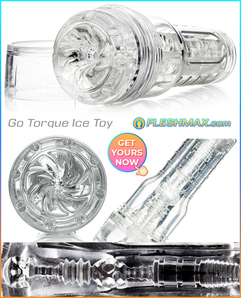 FLESHMAX.com - Go Torque Ice Masturbator For Guys front and side view, see through when you stroke and fap to porn solo play or with partner sex toy shopping get yours now