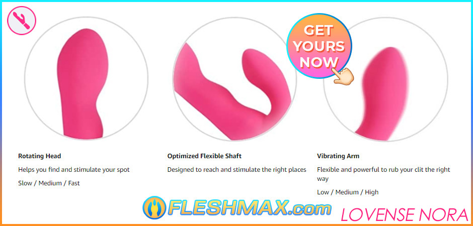 FLESHMAX.com lovense nora indepth view image search picture jpg rotating head helps you find and stimulate your g-spot and clitoris,slow medium fast speed settings,optimized flexible shaft designed to reach and stimulate the right places,vibrating arm flexible and powerful to rub your clit the right way,low medium high